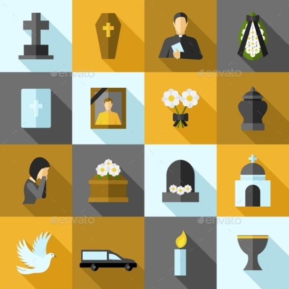 Funeral Icons Flat Set - Miscellaneous Icons