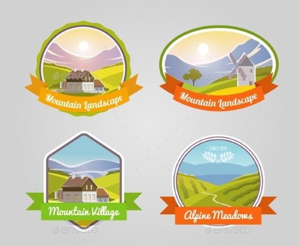 Mountain Landscape Label - Nature Conceptual