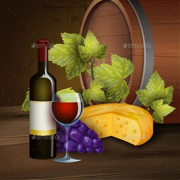 Wine Bottle And Oak Barrel Background - Food Objects