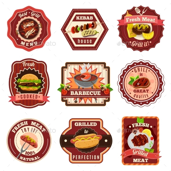 Barbecue Emblems Set - Food Objects