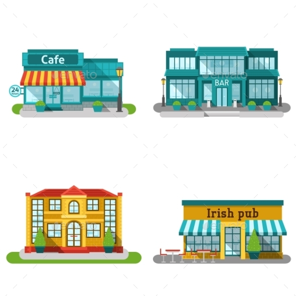 Cafe Buildings Flat Set - Buildings Objects