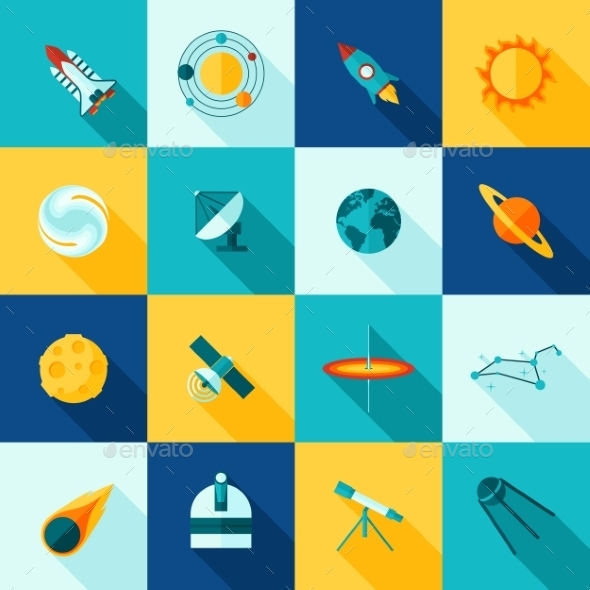 Space Universe Long Shadows Icon Set - Objects Icons