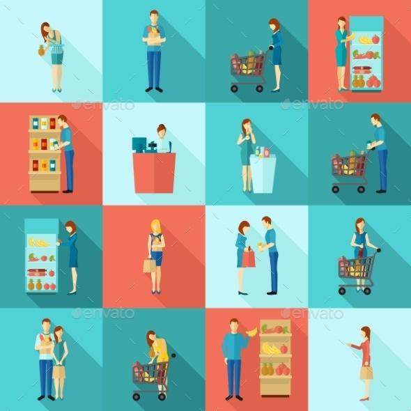 Buyers Long Shadow Icon Set - People Characters