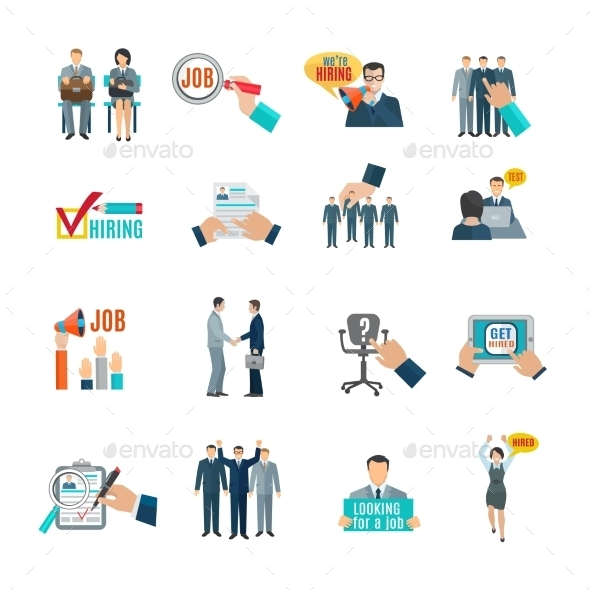 Hire Flat Icons Set - Business Icons