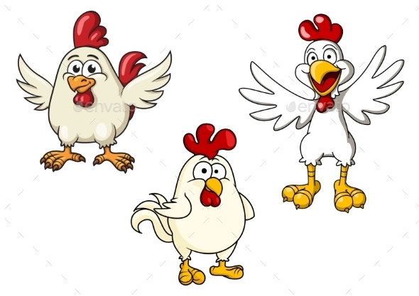 White Roosters And Cocks Cartoon Characters - Animals Characters
