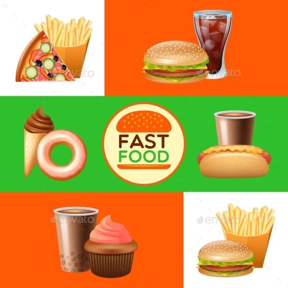 Fast Food Restaurant Menu Banners Set - Business Conceptual