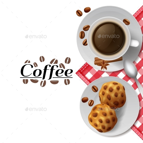 Coffee With Cookies Breakfast Composition - Food Objects