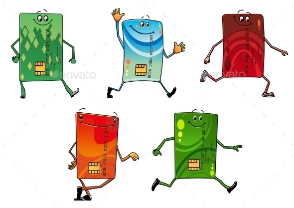 Modern Bank Credit Cards Cartoon Characters - Business Conceptual