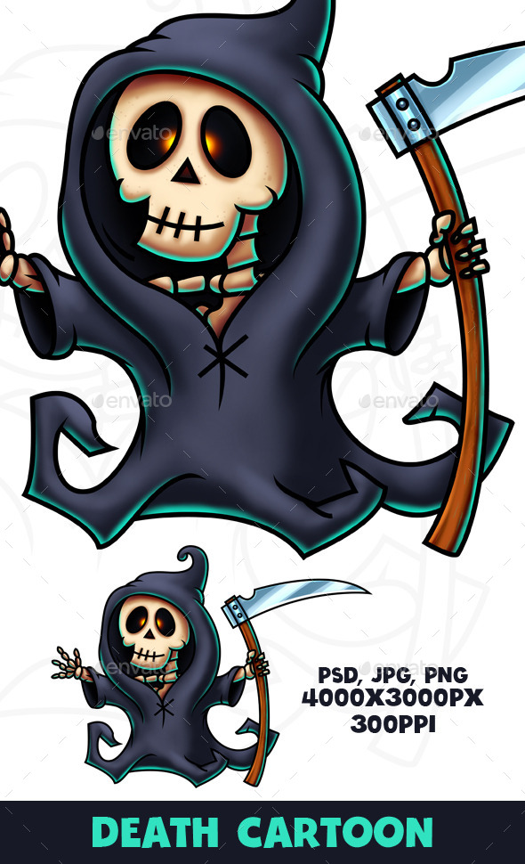Death Cartoon Character Digital Painting - Characters Illustrations