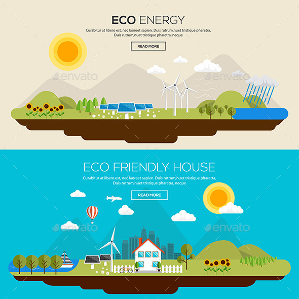 Flat Designed Banners Concept - Landscapes Nature