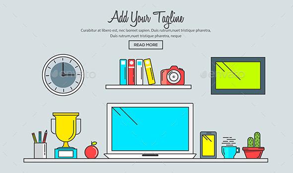 Line Flat Design of Creative Designer Workspace - Backgrounds Decorative