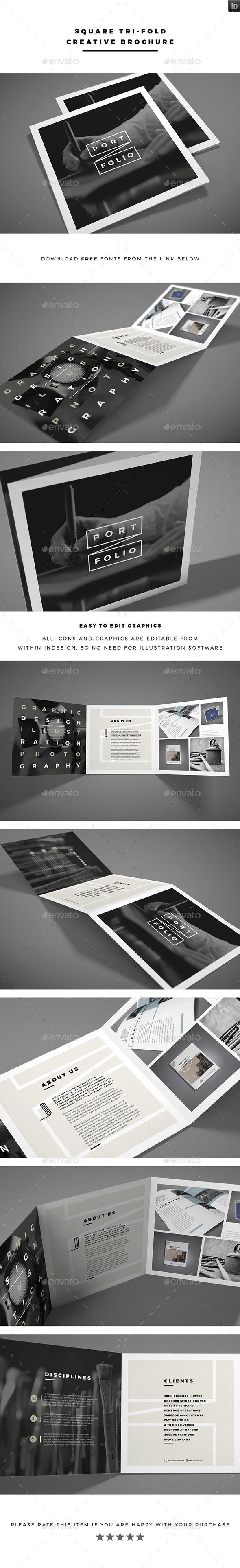 Square Tri-fold Creative Brochure - Brochures Print Templates
