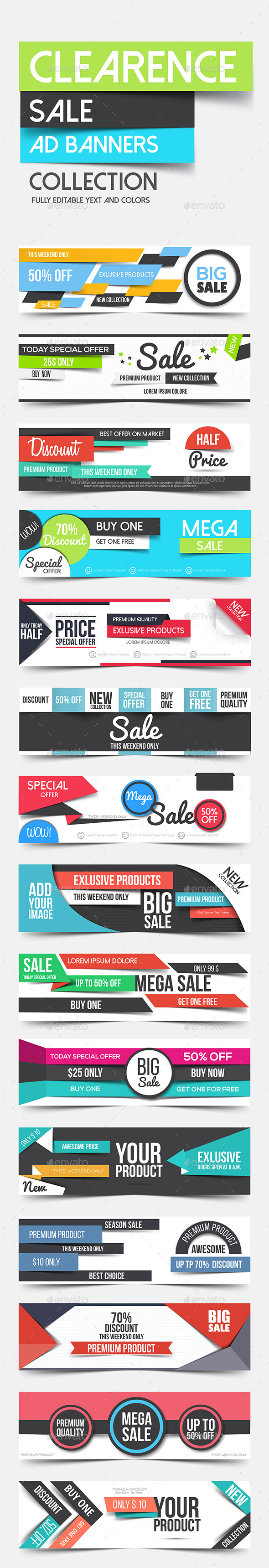 Collection of Clean Flat Advertising Web Banners - Commercial / Shopping Conceptual