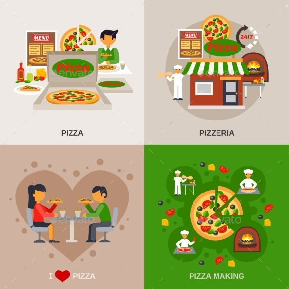 Pizzeria Concept Icons Set - Food Objects