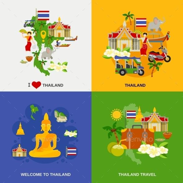 Thailand Tourism Icons Set  - Travel Conceptual