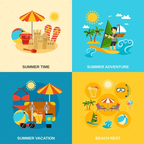 Summer Vacation And Adventure Icons Set - Travel Conceptual