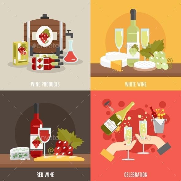 Wine Flat Set - Food Objects
