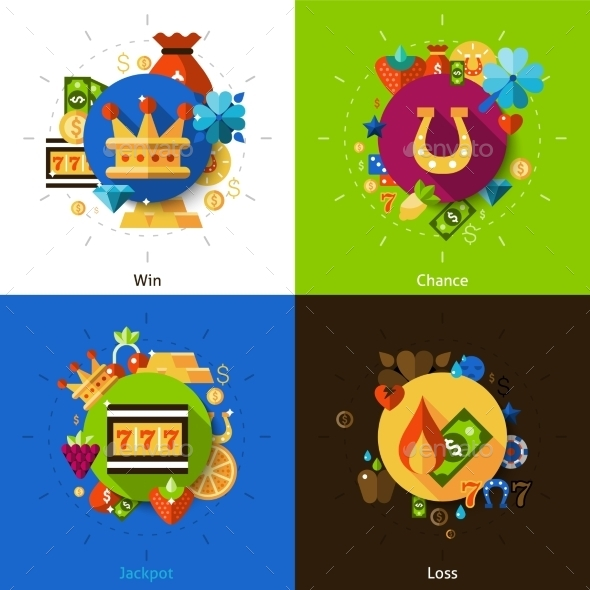 Slot Machine Concept Icons Set
