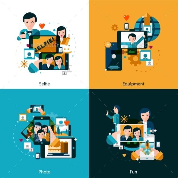 Mobile Photo Concept Icons Set - Technology Conceptual