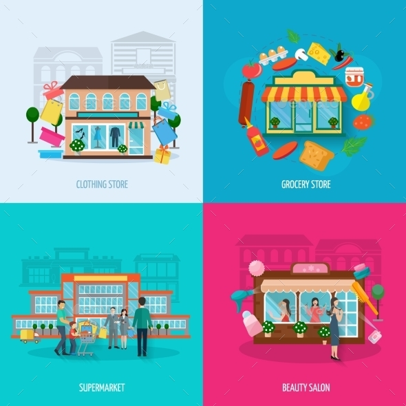 Different Stores Icons Set - Buildings Objects