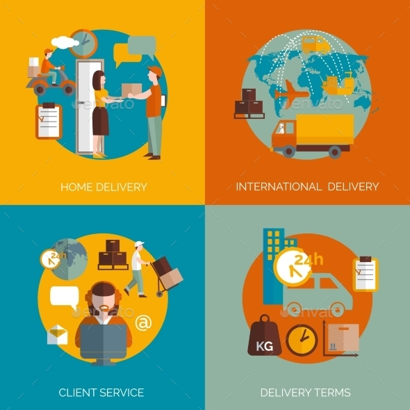 Logistic Delivery Concept 4 Flat Icons - Technology Conceptual