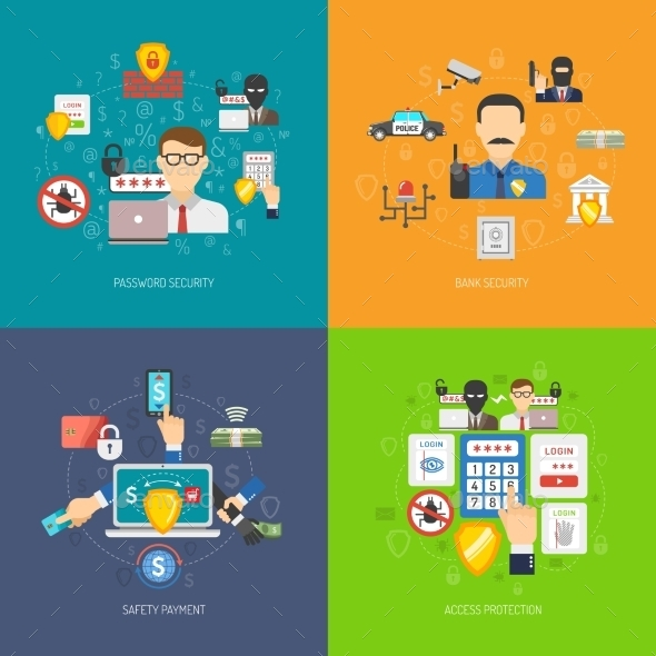 Bank Security 4 Flat Icons Banner - Technology Conceptual