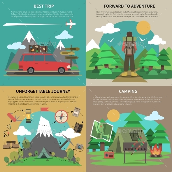 Hiking Banner 4 Flat Icons Square - Sports/Activity Conceptual