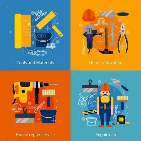 Repair Service And Renovation Icons Set - Objects Vectors