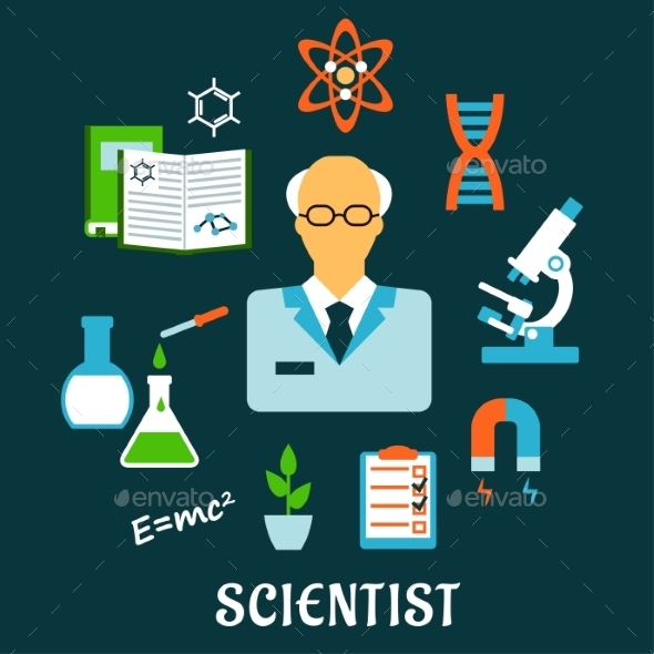 Scientist With Research And Science Flat Icons - Conceptual Vectors