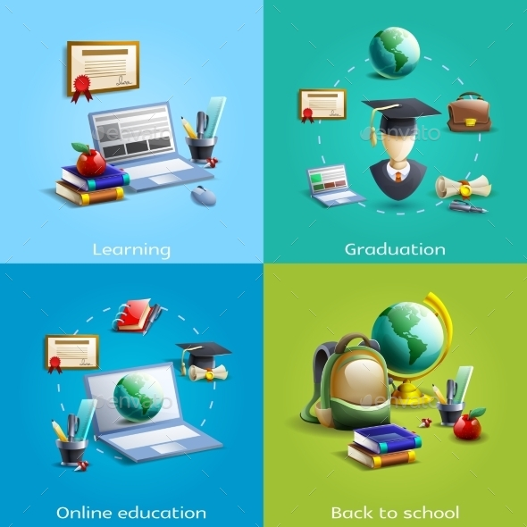 Education And Learning Icons Set - Miscellaneous Conceptual
