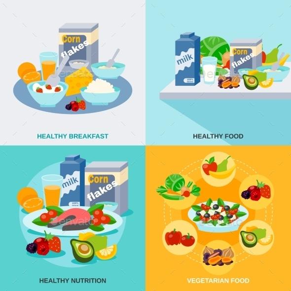 Healthy Food Flat Set - Food Objects