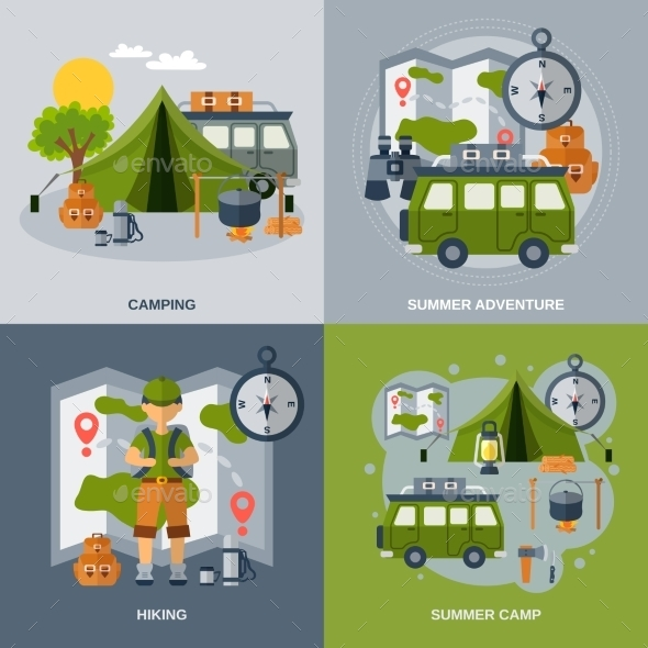 Camping Flat Icons Set - Nature Conceptual