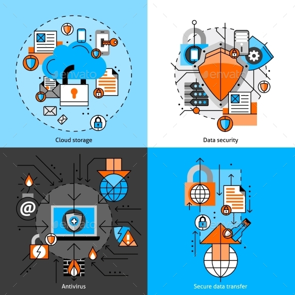 Data Security And Storage Icons Set    - Technology Conceptual