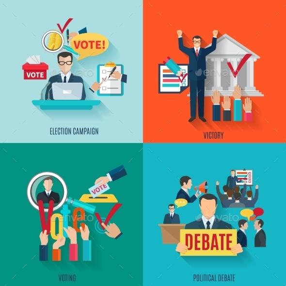 Election Flat Set - Miscellaneous Vectors