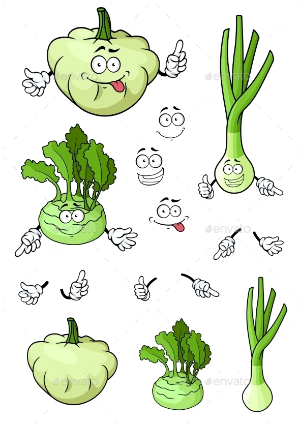 Cartoon Onion, Squash, Kohlrabi Vegetables - Food Objects