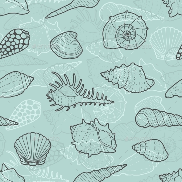 Decorative Vector Seamless Pattern Of Sea Shells - Nature Conceptual