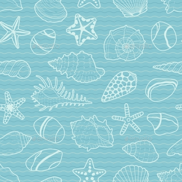 Vector Pattern Of White Sea Shells, Stars, Stones - Nature Conceptual