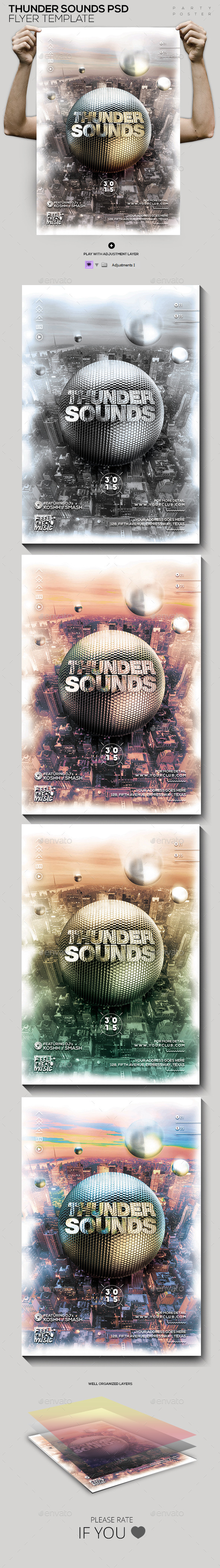 Thunder Sounds PSD Template - Events Flyers
