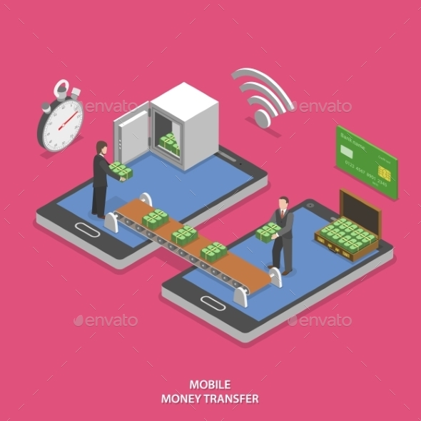 Mobile Money Transfer Flat Isometric Vector.  - Retail Commercial / Shopping