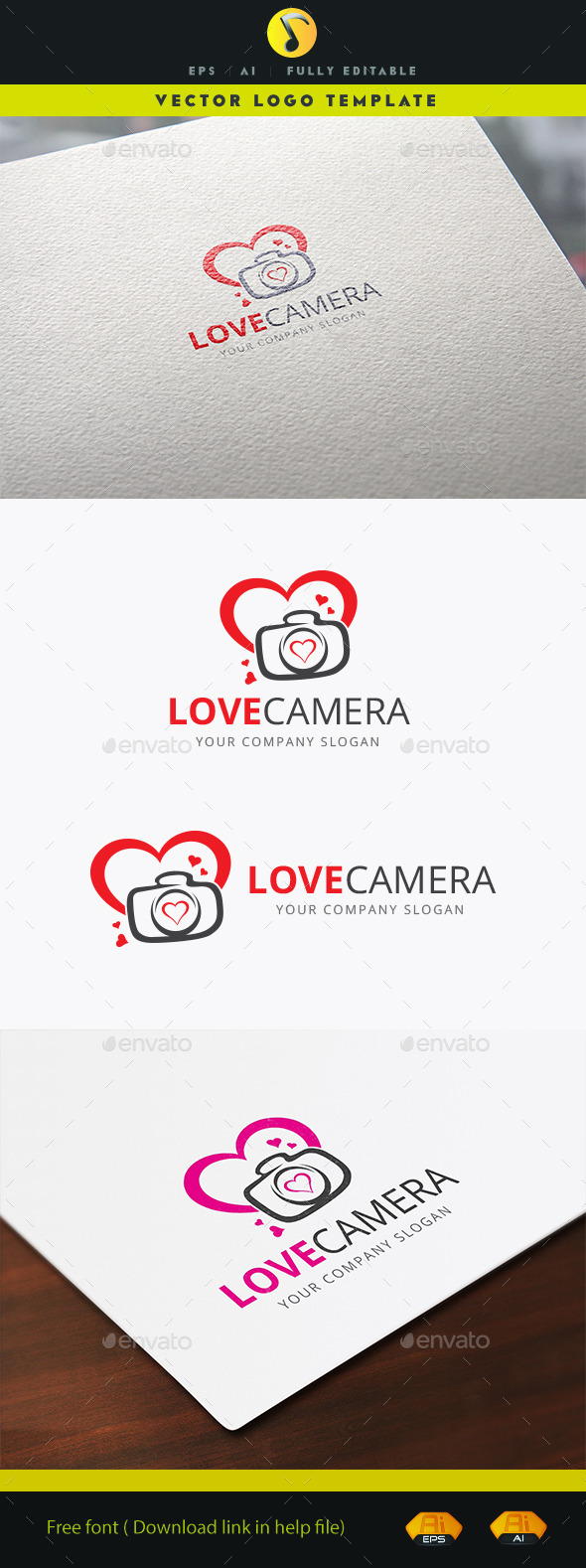 Love Camera - Objects Logo Templates