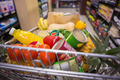 A trolley with healthy food at supermarket - PhotoDune Item for Sale