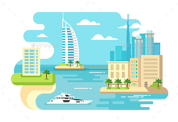 Dubai City Beach Skyline - Travel Conceptual
