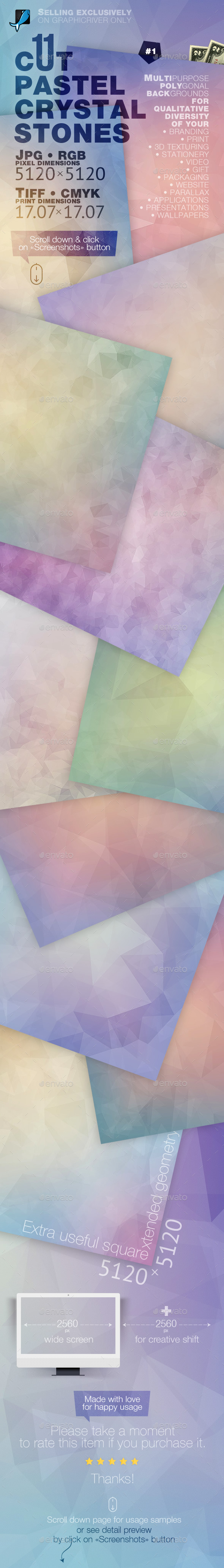 Pastel Crystal Stones Backgrounds — CMYK and RGB - Abstract Backgrounds
