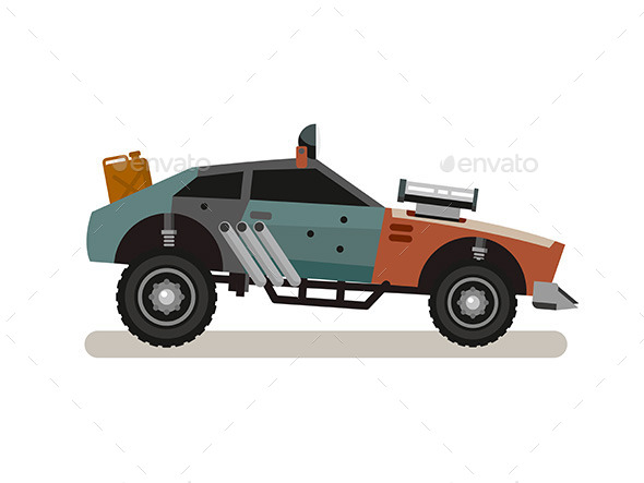 Tuned Retro Car In Flat Style - Objects Vectors