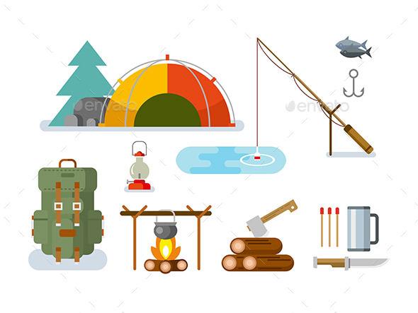 Fishing Hunting Items Flat Design - Objects Vectors