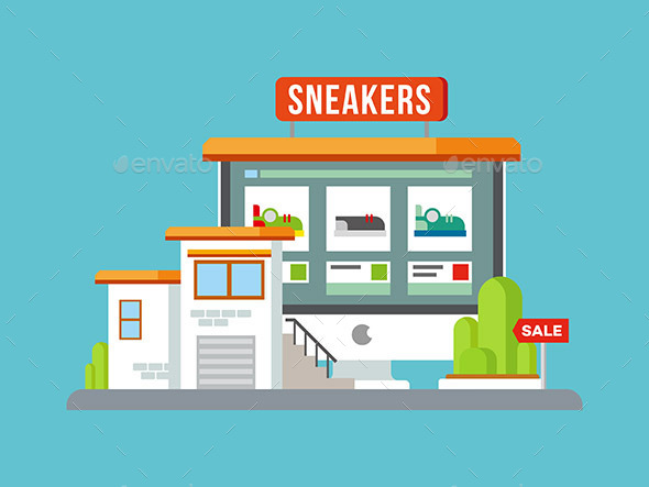 Online Shop Building Flat Design - Commercial / Shopping Conceptual