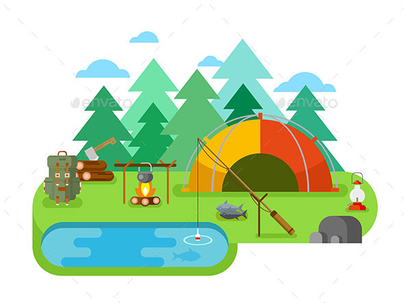 Outdoor Recreation. Fishing Camp - Landscapes Nature