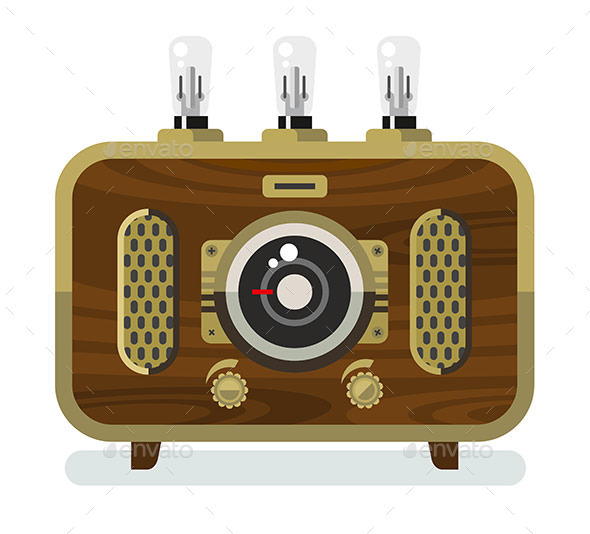 Vintage Radios In Flat Style - Communications Technology