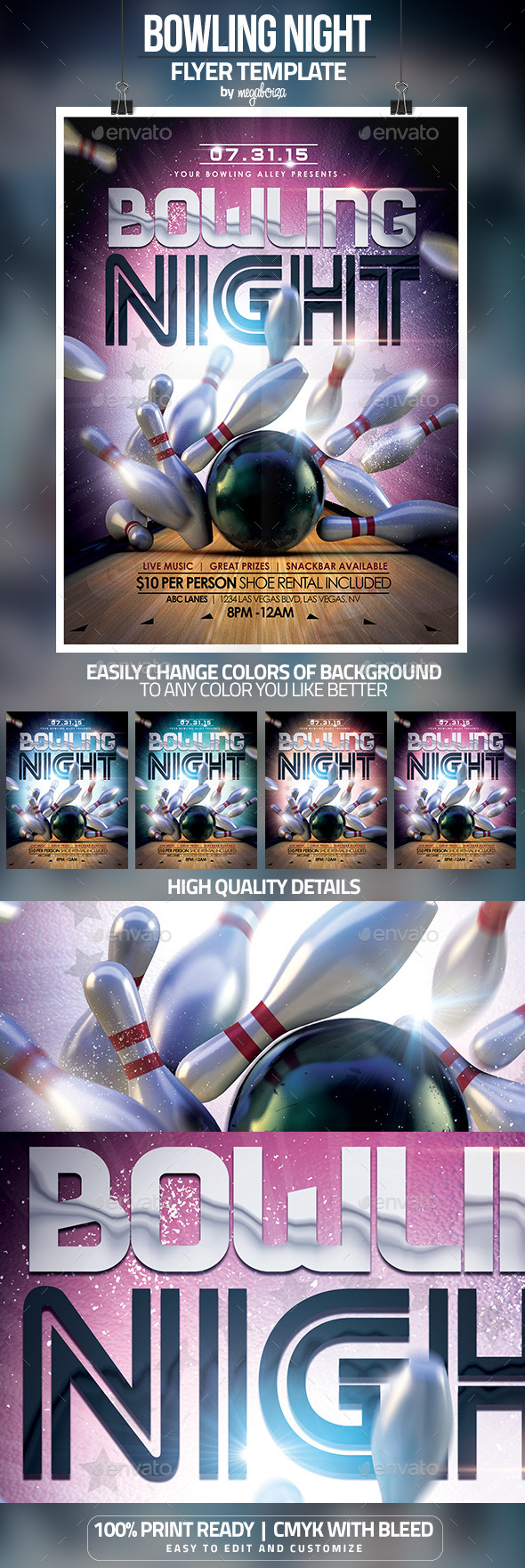 Bowling Night Flyer / Poster Template - Sports Events