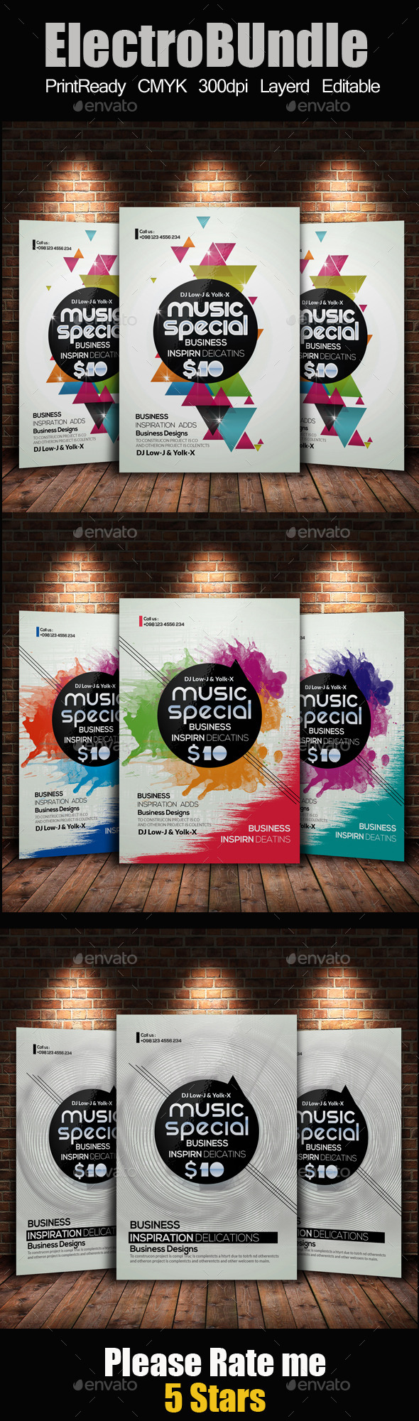 Electro & Futuristic Flyer Template Bundle - Clubs & Parties Events